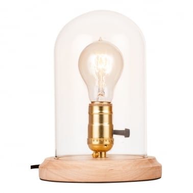 Bell Jar Table Lamp with Glass Dome, Natural