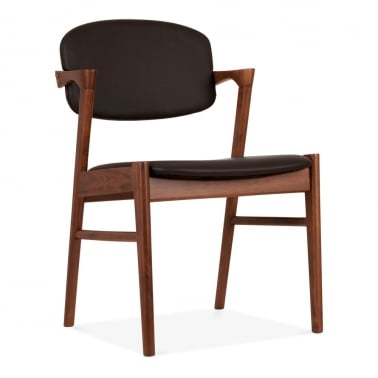 Fitzroy Wooden Dining Chair, Black Faux Leather, Walnut Finish