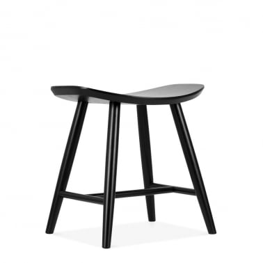 Hatton Wooden Low Stool, Black 45cm