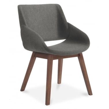 Amos Wooden Dining Armchair, Fabric Upholstered, Grey