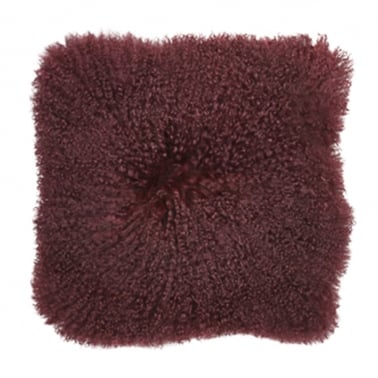 Mongolian Sheepskin Cushion, Purple