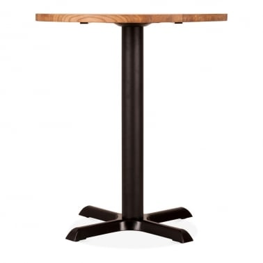 Galant Round Cafe Table, Elm Wood Top, Natural & Black 70cm