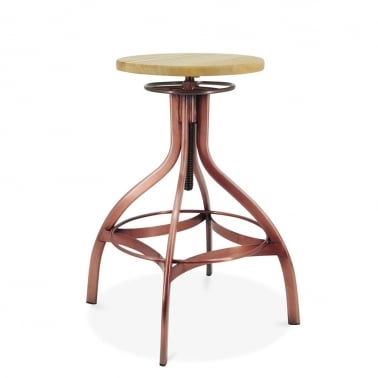 Verona Metal Swivel Bar Stool, Ash Wood Seat, Light Copper 65-75cm