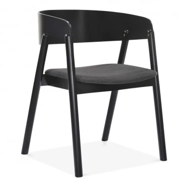 Tilda Wooden Dining Chair, Dark Grey Fabric Upholstered, Black