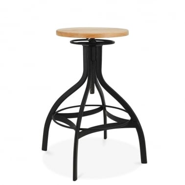 Verona Metal Swivel Bar Stool, Ash Wood Seat, Black 65-75cm