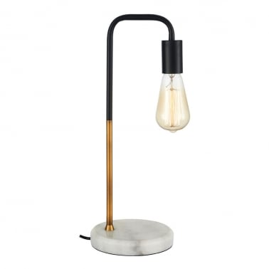 Indra Table Lamp, White Marble Base, Brass