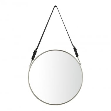 Aria Hanging Wall Mirror, Matte Chrome