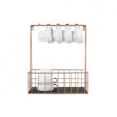 Small Wall Mounted Kitchen Rack with Hooks, Copper