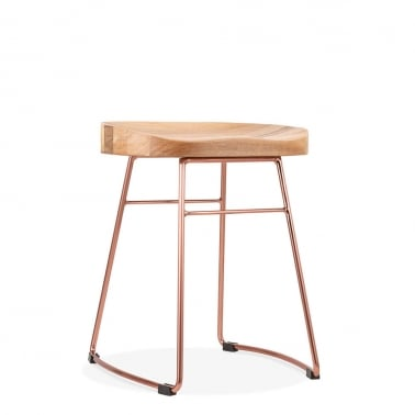 Victoria Metal Low Stool with Natural Wood Seat, Copper 45cm