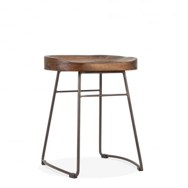 Victoria Metal Low Stool, Solid Elm Wood, Rustic 45cm