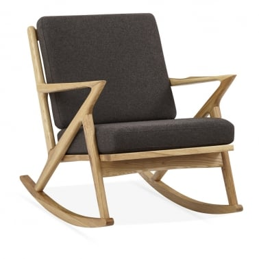 Z Style Dane Wooden Rocking Chair, Grey Upholstered Seat, Natural