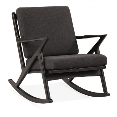Z Style Dane Wooden Rocking Chair, Grey Upholstered Seat, Black