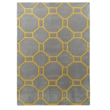 Hong Kong Hand Tufted Floor Rug, Grey and Yellow