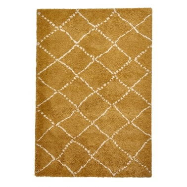Royal Nomadic Shaggy Floor Rug, Pure Polypropylene, Yellow Diamond