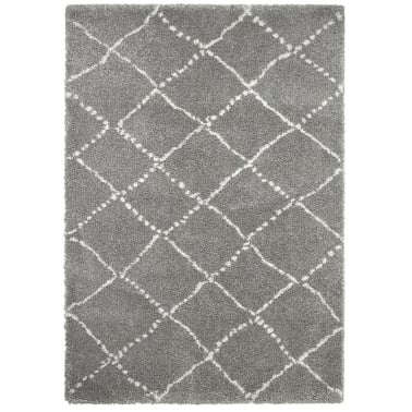 Royal Nomadic Shaggy Floor Rug, Pure Polypropylene, Grey Diamond