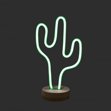 Cactus LED Neon Table Lamp, Green