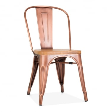 Tolix Style Metal Side Chair with Natural Wood Seat, Light Copper