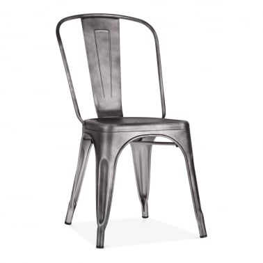 Tolix Style Metal Side Chair - Rustic Silver