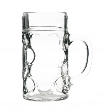 German Style Glass Beer Stein, Large 1.3L