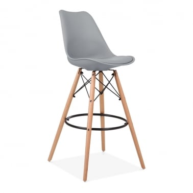 Soft Pad Bar Stool with Backrest, DSW Style Natural Wood Leg, Cool Grey 75cm