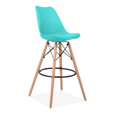 Soft Pad Bar Stool with Backrest, DSW Style Natural Wood Leg, Turquoise 75cm