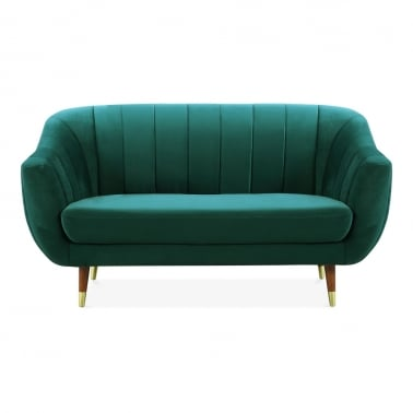 Melvin 2 Seater Loveseat Sofa, Velvet Upholstered, Dark Teal