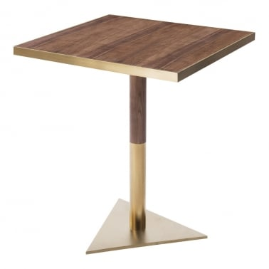 Raleigh Square Café Table, Walnut Effect Top, Triangle Base