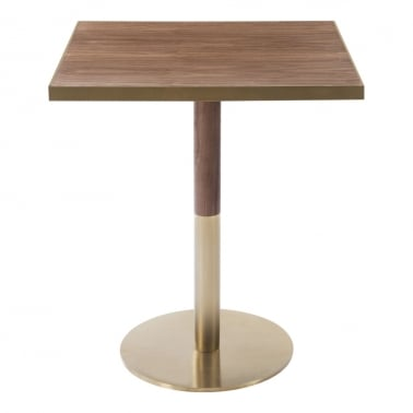 Raleigh Square Café Table, Walnut Effect Top, Round Base