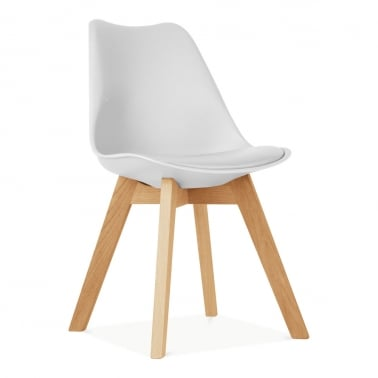 White Dining Chairs With Solid Crossed Oak Wood Leg Base