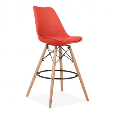 Soft Pad Bar Stool with Backrest, DSW Style Natural Wood Leg, Red 65cm