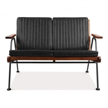 Wickham Industrial 2 Seater Small Sofa, Faux Leather Seat, Black