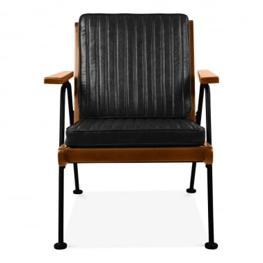 Wickham Industrial Wooden Armchair, Faux Leather Seat, Black
