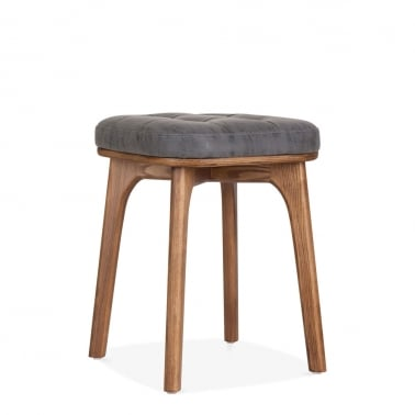 Winchester Solid Wood Low Stool, Vintage Grey Faux Leather, Walnut 45cm