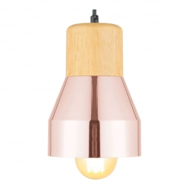 Laval Metal and Wood Pendant Light, Copper