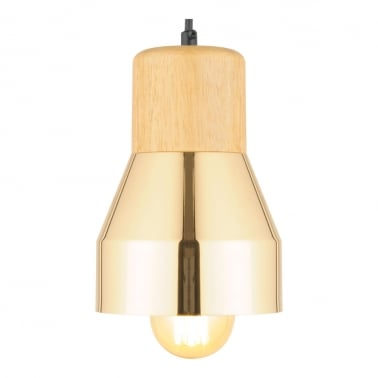 Laval Metal and Wood Pendant Light, Gold