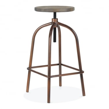 Vinny Metal Swivel Bar Stool, Antique Copper 65-83cm