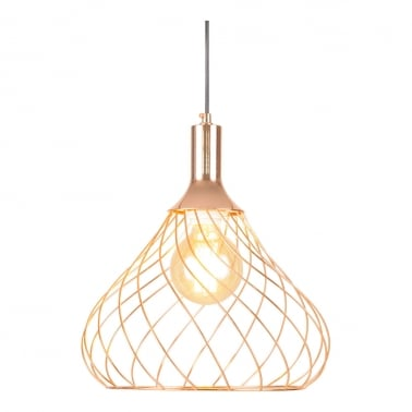 Nova Large Cage Pendant Light, Copper