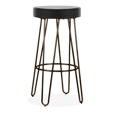 Hairpin Metal Bar Stool, Black Faux Leather Seat, Rustic 75cm