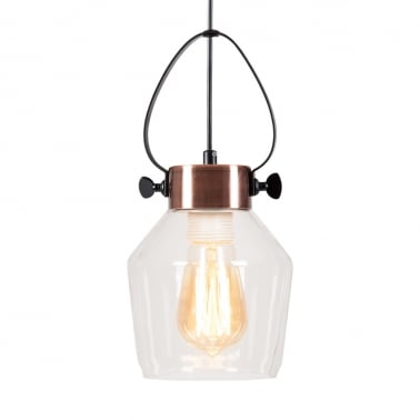 Apoch Bottle Glass Pendant Light - Antique Copper / Clear