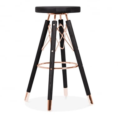 Moda Bar Stool CD3, Solid Wood, Black 75cm