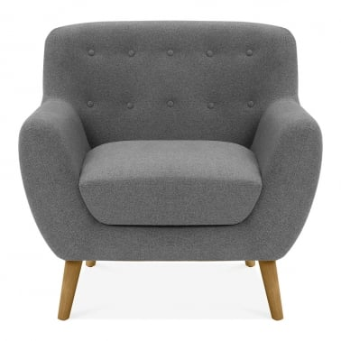 Trent Armchair, Wool Touch Fabric, Grey