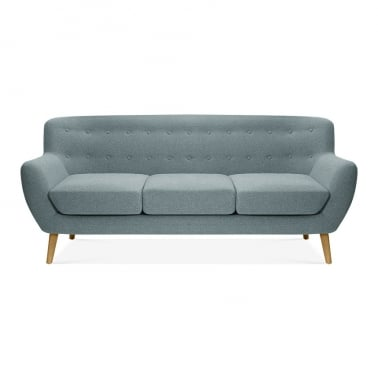 Trent 3 Seater Sofa, Wool Touch Fabric, Light Blue
