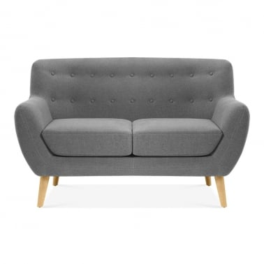 Trent 2 Seater Small Sofa, Wool Touch Fabric, Grey