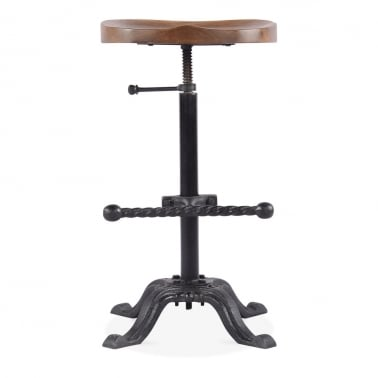 Bazzar Metal Bar Stool, Mango Wood Seat, Black 65-85cm
