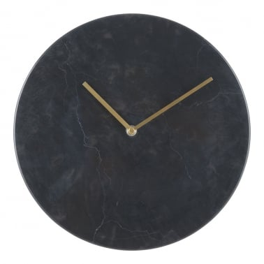 Colt Marble Effect Round Wall Clock, Black
