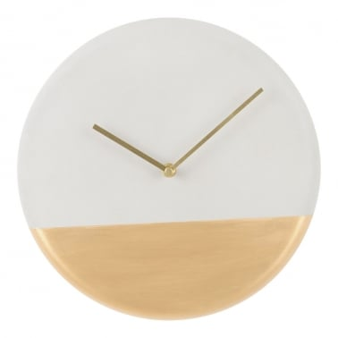Lyna Concrete Wall Clock, Brushed Gold