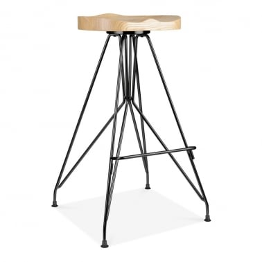 Moda Metal Bar Stool CD1, Solid Ash Wood Seat, Black 76cm