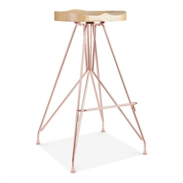 Moda Metal Bar Stool CD1, Solid Ash Wood Seat, Copper 76cm