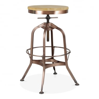 Toledo Style Pump Action Round Stool, Solid Oak Seat, Light Copper 64-74cm
