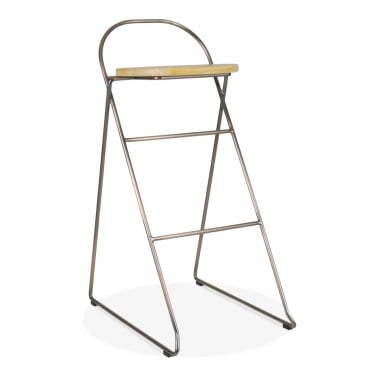 Crane Metal Bar Stool with Solid Oak Wood Seat, Copper 75cm